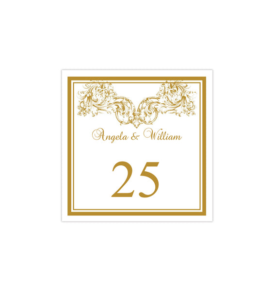 Printable Table Number Template Vienna Gold Tent