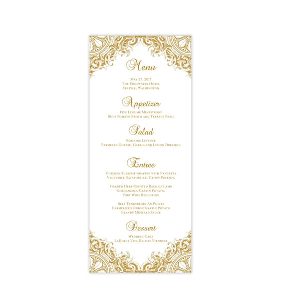 Wedding Menu Card Vintage Gold Tea Length Printable DIY Templates