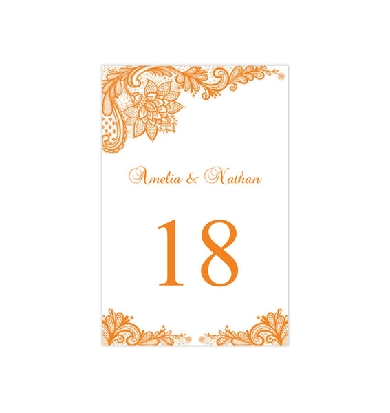Wedding Table Number Template Vintage Lace Orange Flat Printable DIY