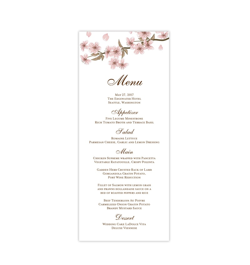 image about Printable Wedding Menus referred to as Marriage ceremony Menu Card Cherry Blossoms Tea Period Printable Do it yourself