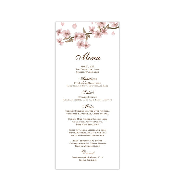 Wedding Menu Card Cherry Blossoms Tea Length Printable DIY