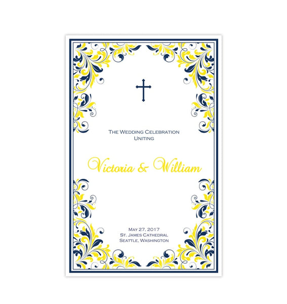 Catholic Church Wedding Program Kaitlyn Navy Blue Yellow Printable DIY
