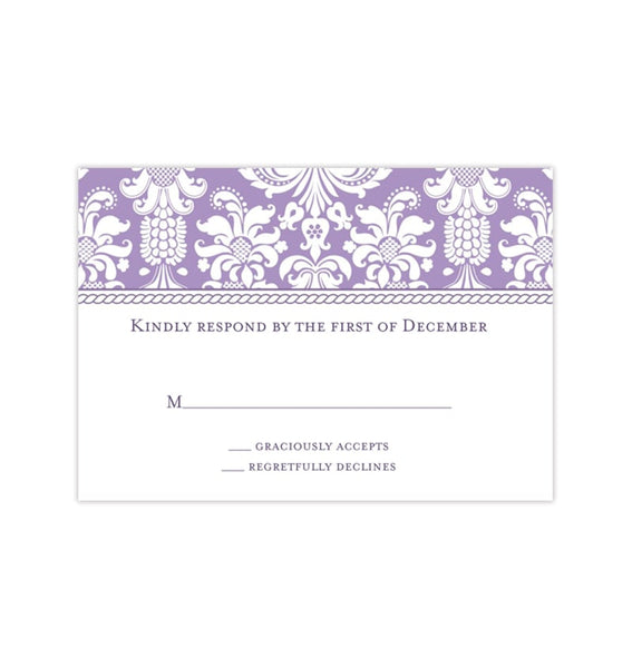 Wedding Response Cards Damask Lavender Printable DIY Templates