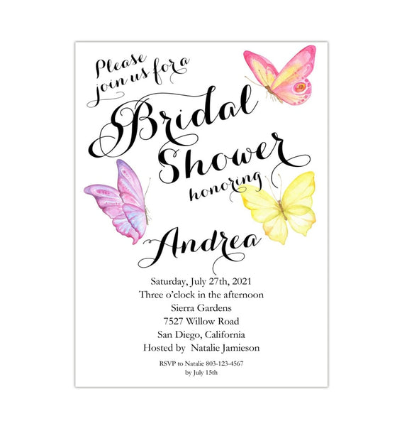 Butterfly Bridal Shower Invitation Printable Template