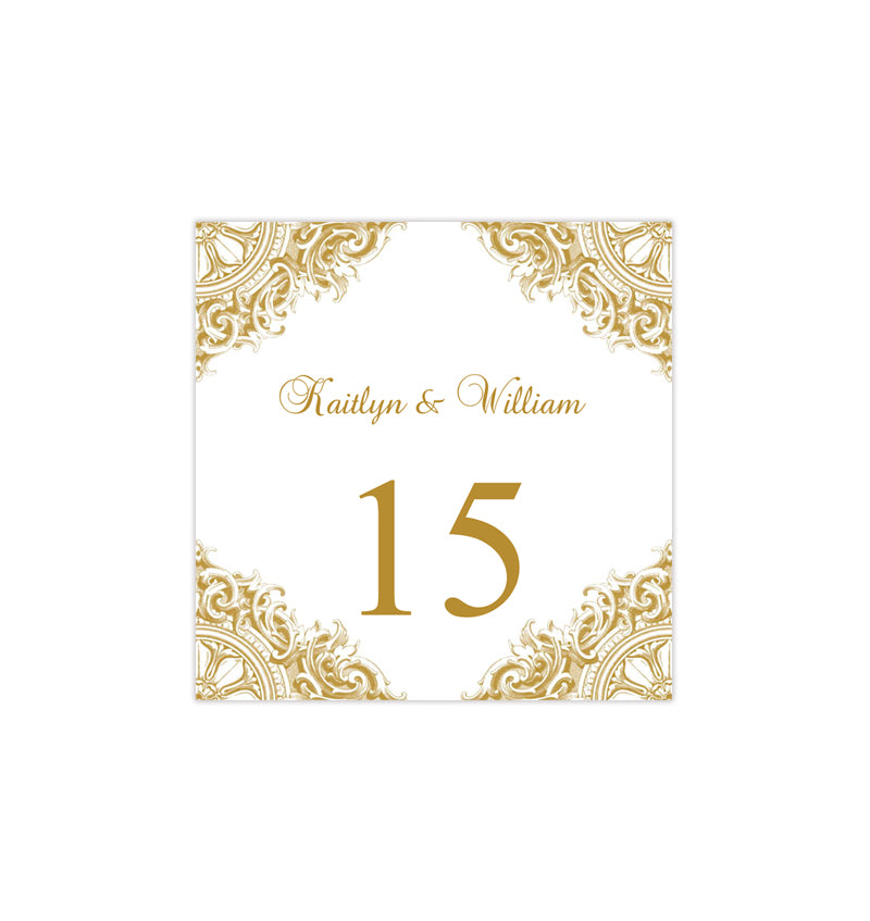 Printable Table Number Template Vintage Gold Tent