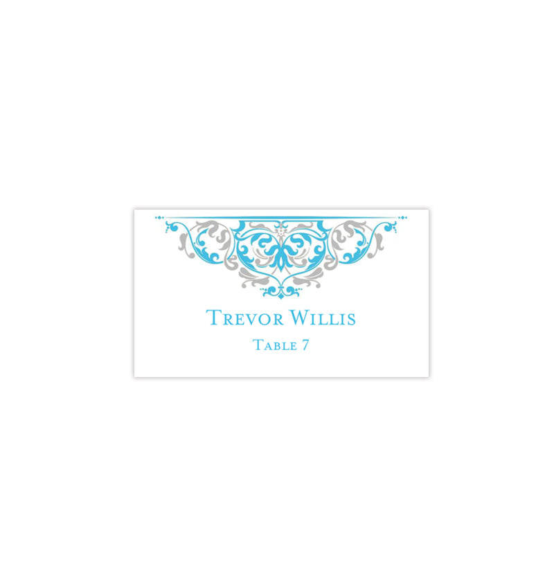 picture regarding Printable Place Cards referred to as Printable Space Card Template Grace Malibu Blue Silver Tent