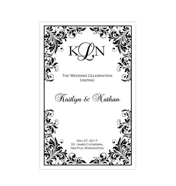 Wedding Program Template Kaitlyn Black White Printable DIY