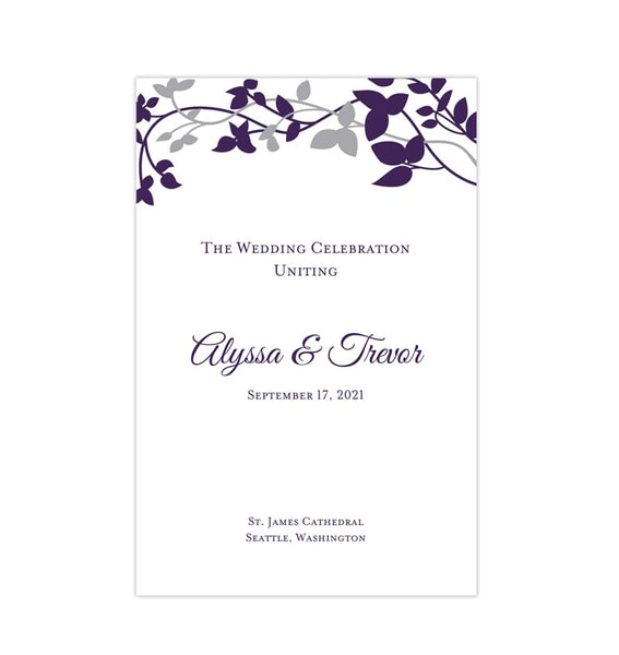 Wedding Program Template Forever Entwined Purple Eggplant and Silver Printable DIY