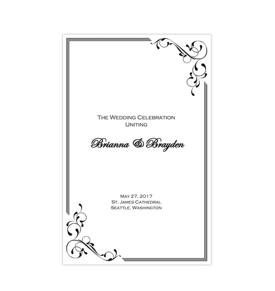 Wedding Program Template Elegance Black
