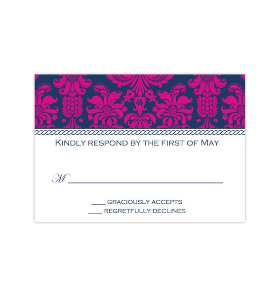 Wedding Response Cards Damask Navy Blue Fuchsia Pink Printable DIY Templates