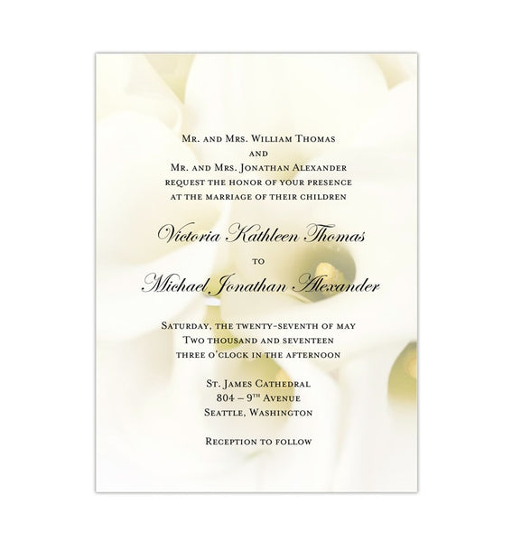 Calla Lily Wedding Invitation DIY Printable Template