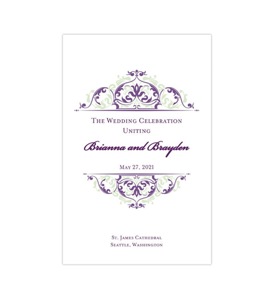 Wedding Program Template Grace Purple Meadow Green Printable DIY