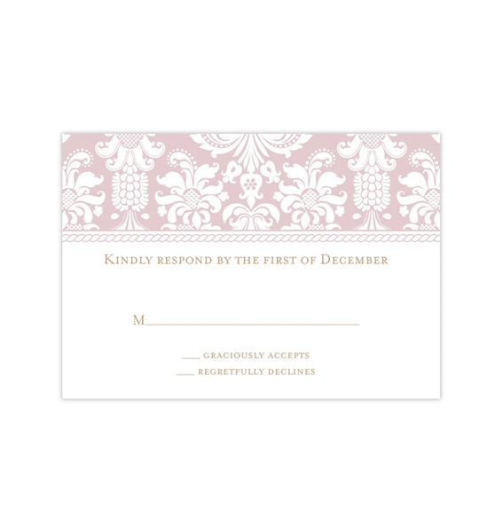 Wedding Response Cards Damask Tea Rose Pink Printable DIY Templates