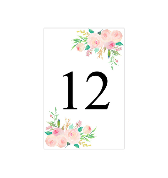 Wedding Table Number Template Watercolor Floral 3 Flat Printable DIY