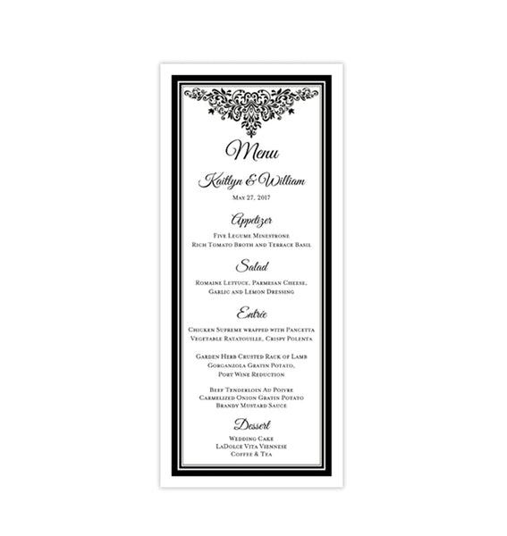 Wedding Menu Card Anna Maria Black White Tea Length Printable DIY Templates