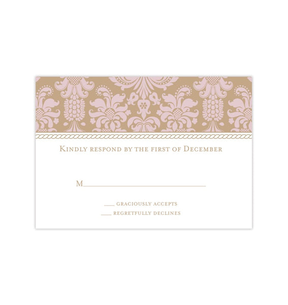 Wedding Response Cards Damask Tea Rose Pink Gold Printable DIY Templates