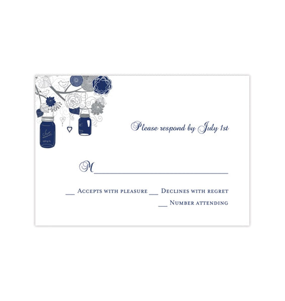 Wedding Response Cards Rustic Mason Jars Navy Blue Gray Printable DIY Templates
