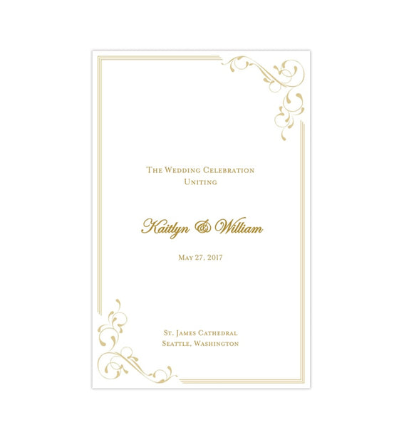 Wedding Program Template Elegance Champagne Printable DIY