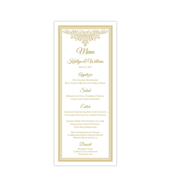 Wedding Menu Card Anna Maria Champagne Tea Length Printable DIY Templates