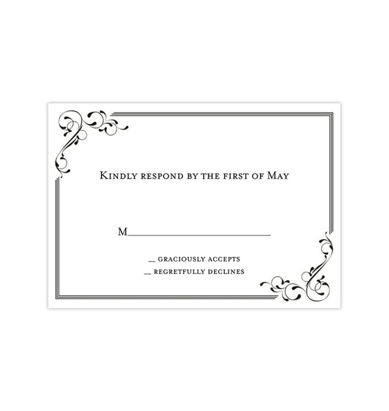 Wedding Response Cards Elegance Black White Printable DIY Templates