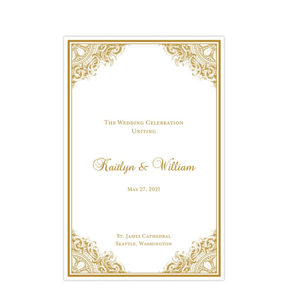 Wedding Program Template Vintage Gold Printable DIY