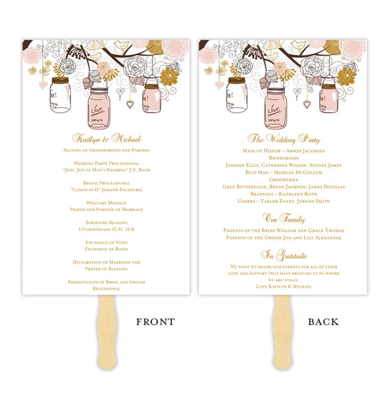 Wedding Program Fan Rustic Mason Jar Blush Pink Gold Printable DIY Templates