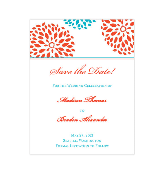 Wedding Save the Date Cards Floral Petals Coral Turquoise Printable DIY