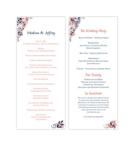 Slim Wedding Program Gianna Navy Blue Coral Orange Printable DIY Templates