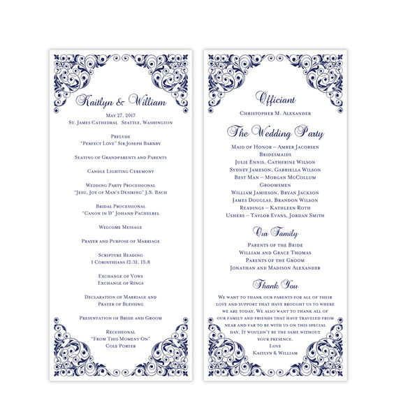 Slim Wedding Program Isabella Navy Blue Printable DIY Templates