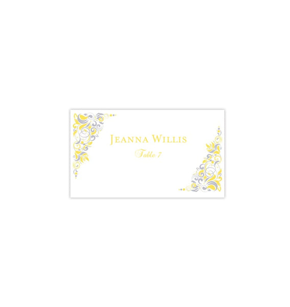 Wedding Seating Card Gianna Yellow Silver Tent Printable DIY Place Template
