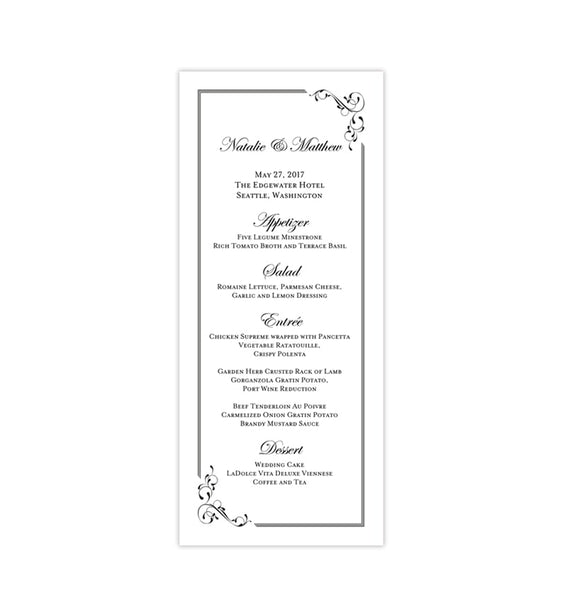 Wedding Menu Card Elegance Black White Tea Length Printable DIY Templates