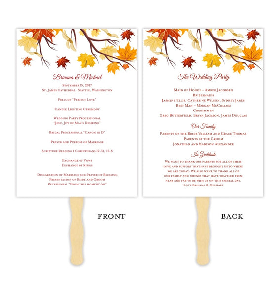 Wedding Program Fan Falling Leaves Autumn Colors Printable DIY Template