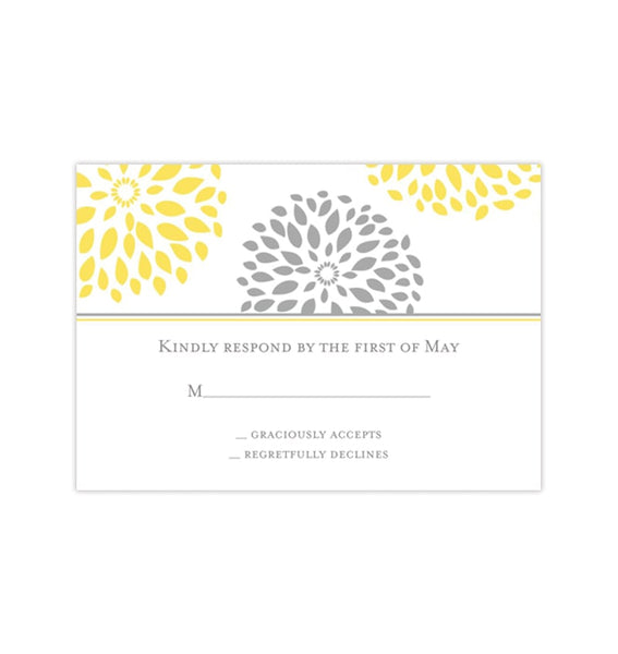 Wedding Response Cards Floral Petals Yellow Gray Printable DIY Templates