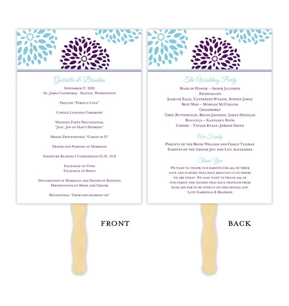 Wedding Program Fan Floral Petals Pool Blue Purple Printable DIY Template