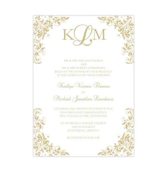 Kaitlyn Wedding Invitation Champagne Printable DIY Templates