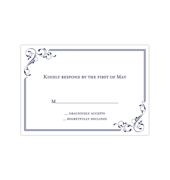 Wedding Response Cards Elegance Navy Blue Printable DIY Templates