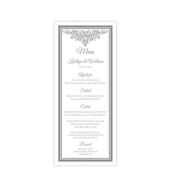 Wedding Menu Card Anna Maria Gray Tea Length Printable DIY Templates