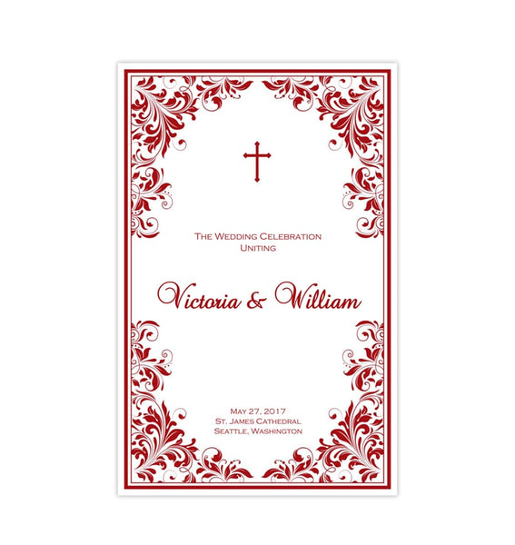 Catholic Church Wedding Program Kaitlyn Red Printable DIY