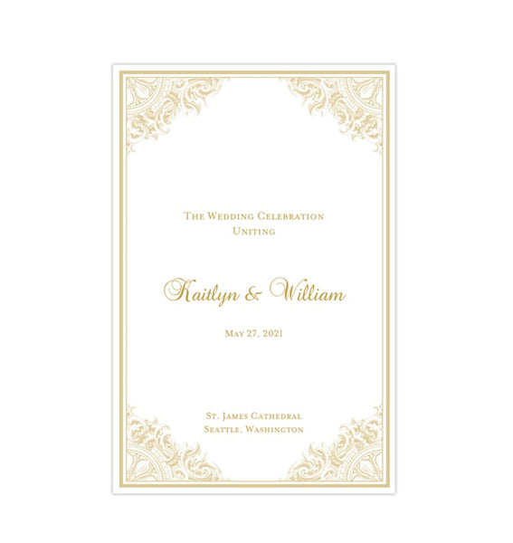 Wedding Program Template Vintage Champagne Printable DIY