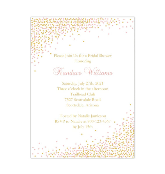 Confetti Bridal Shower Invitation Blush Pink Gold Printable