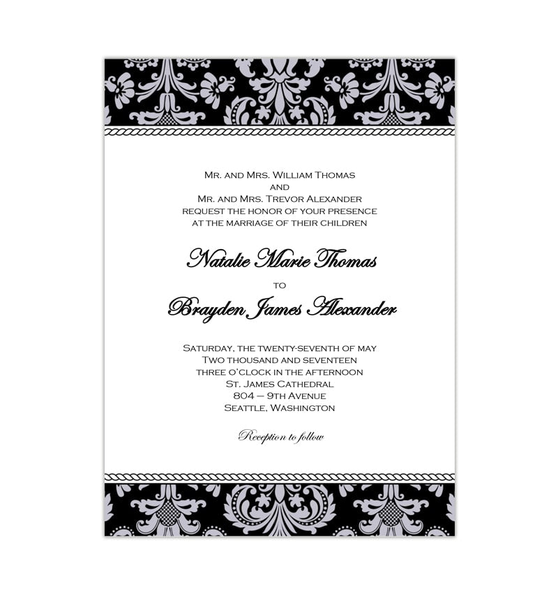 Printable Wedding Invitations Designs With Red And Silver: Damask Wedding Invitation Black Silver