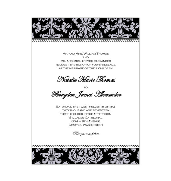 Damask Wedding Invitation Black Silver Printable Template