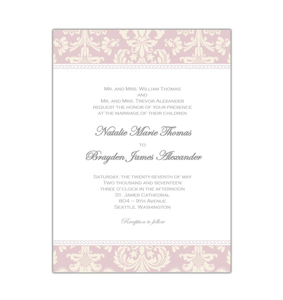 Damask Wedding Invitation Blush Ivory Printable DIY Template