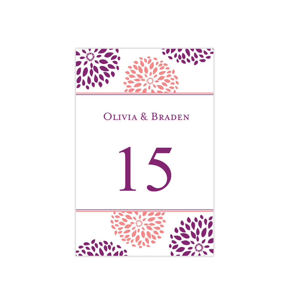 Wedding Table Number Template Floral Petals Coral Purple Flat Printable DIY