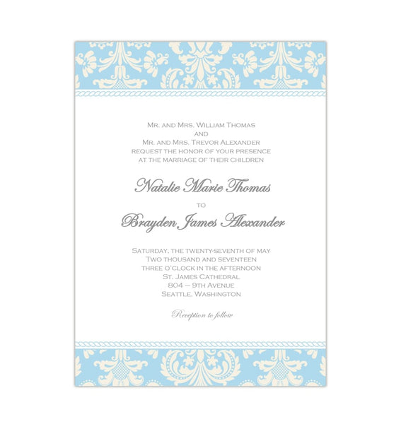 Damask Wedding Invitation Capri Blue Champagne DIY Printable