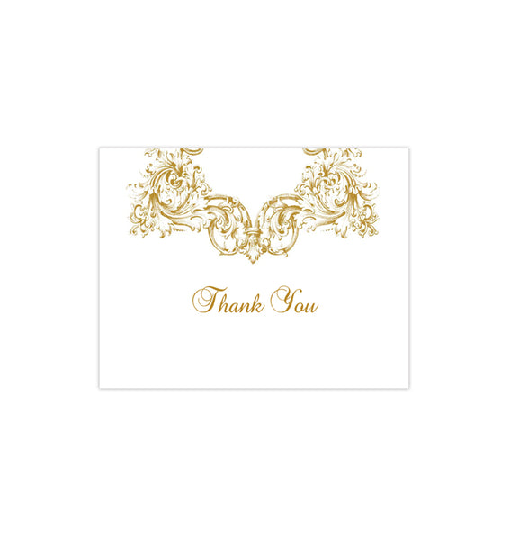 Wedding Thank You Card Vienna Gold Printable DIY Templates