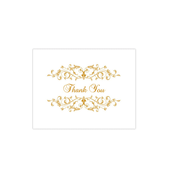 Wedding Thank You Card Vintage Flourish Gold Printable DIY Template