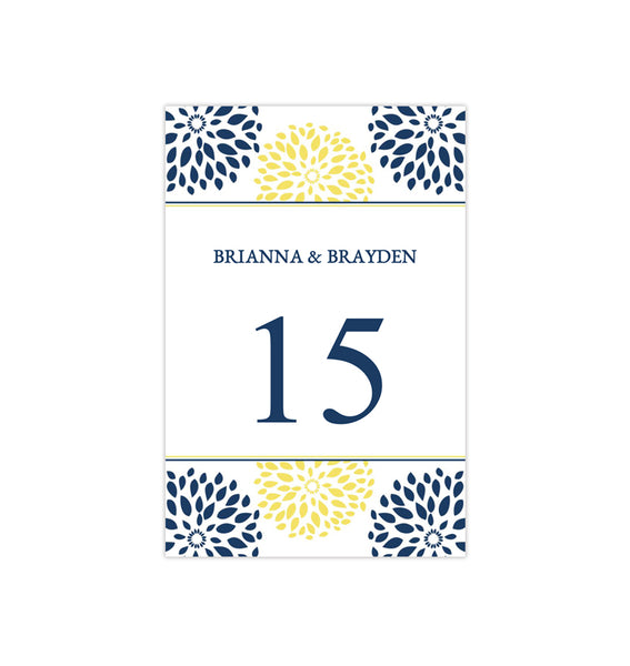 Wedding Table Number Template Floral Petals Navy Yellow Flat Printable DIY