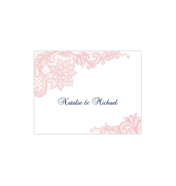Wedding Thank You Card Vintage Lace blush Pink Navy Printable DIY Templates