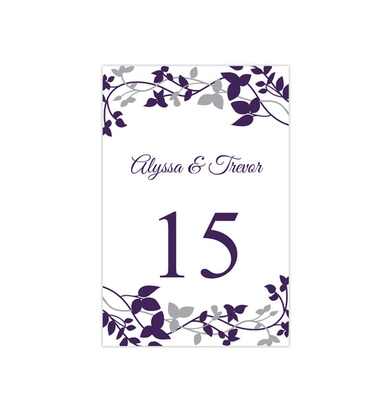 Wedding Table Number Template Forever Entwined Eggplant Silver Flat Printable DIY